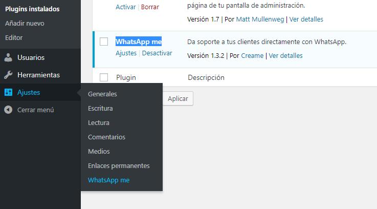 Ajustes Whatsapp WordPress