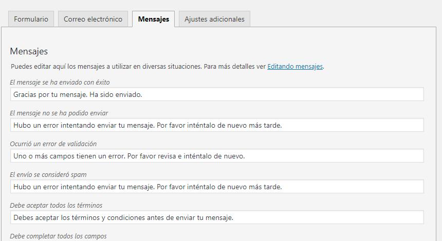 mensajes formularos de contacto wordpress
