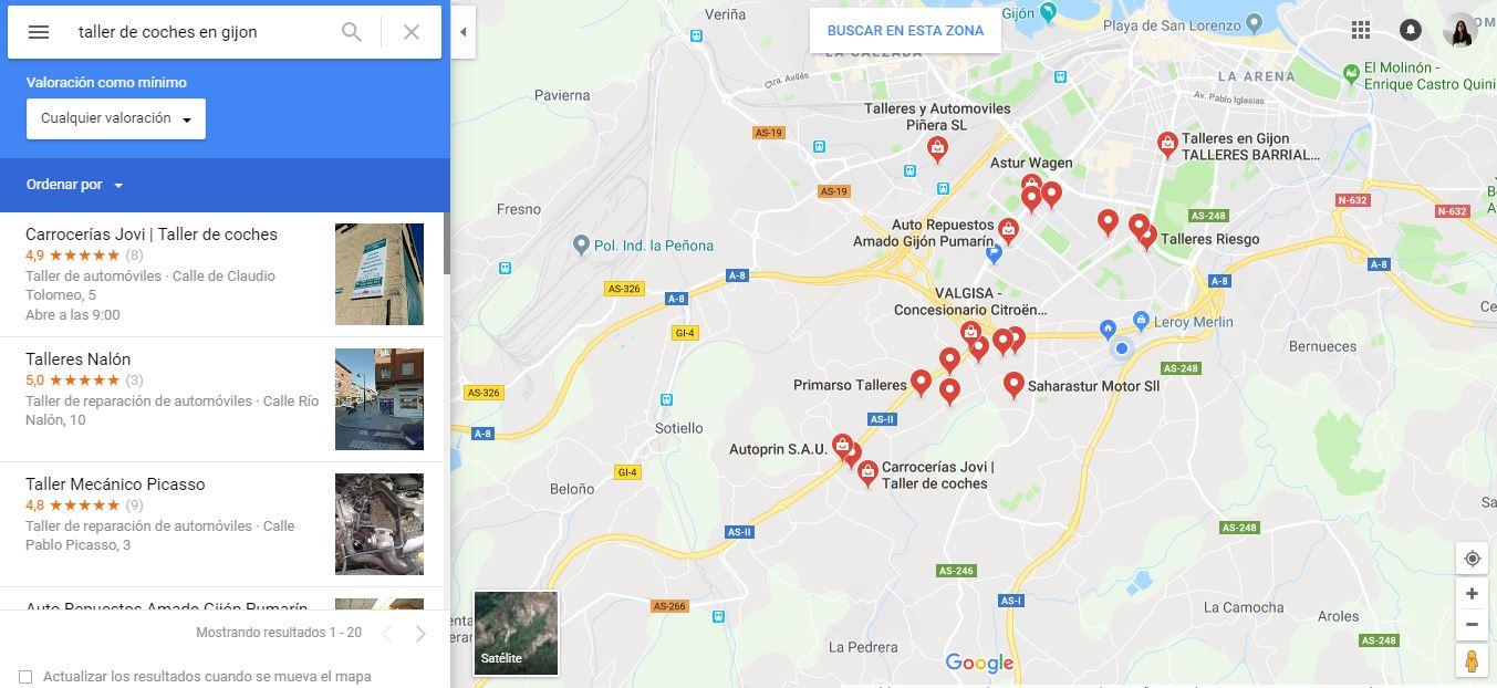 fichas de empresa en google maps