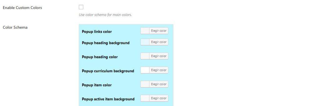ajustes avanzados learnpress colores